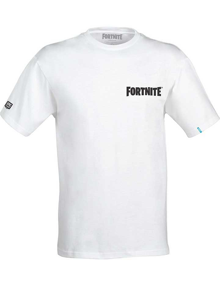 Fornite T-Shirt with fortnite logo on the front and battle star on the back