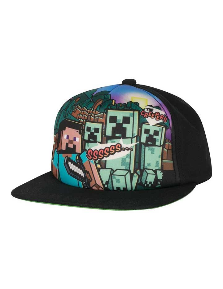 Minecraft Steve Overworld Snap Back Hat Front