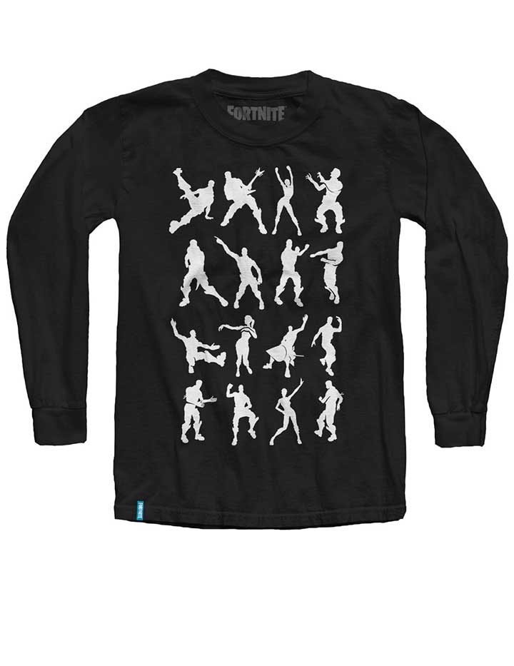 Fortnite Long Sleeve Black T-Shirt with White emotes