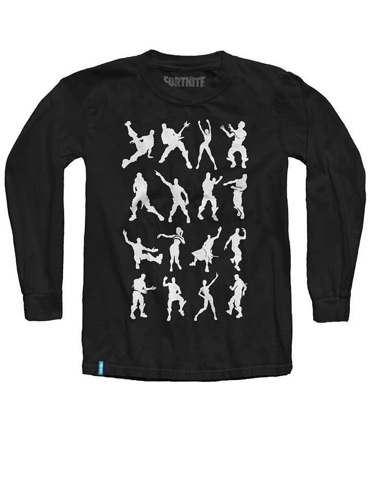 Fortnite Long Sleeve Black T-Shirt with White emotes