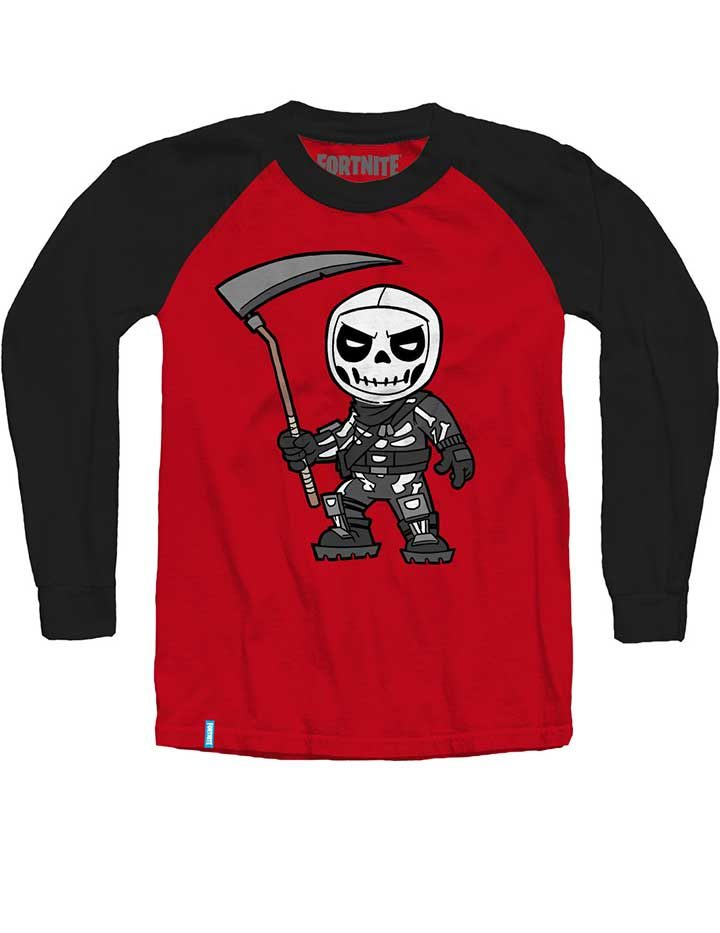 Fortnite Skull Trooper Red and Black Long Sleeve Shirt